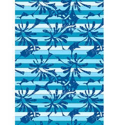 Blue hibiscus stripes in a repeat pattern vector