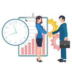 business people cooperation and time management vector image