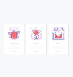 business - set line design style vertical web vector image