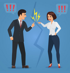 Cartoon man and woman quarreling angry office vector