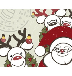 Christmas background with funny reindeers and vector image