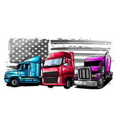 Classic american truck with vector