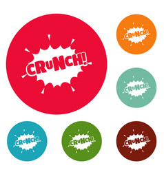 Comic boom crunch icons circle set vector