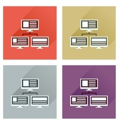 Concept of flat icons with long shadow computer vector
