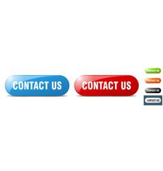 contact us button key sign push button set vector image