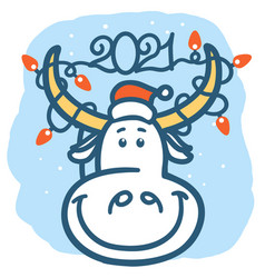 cute cartoon bull with winter holiday lights 2021 vector image
