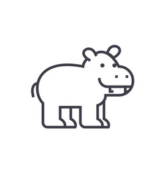Cute hippo line icon sign on vector