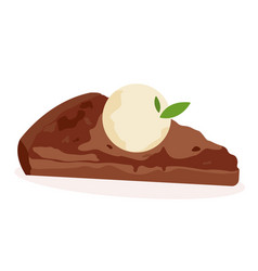 Delicious piece of chocolate cake with vanilla ice vector