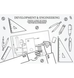 Development Engineering Project blueprints ruler vector image