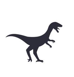 Dinosaur silhouette velociraptor isolated vector