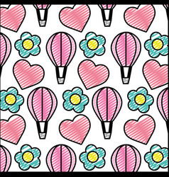 doodle air balloon with heart and flower vector image