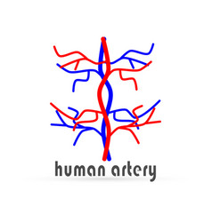 Doodle human artery icon isolated hand drawing vector