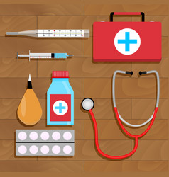 Drugs for treatment top view vector