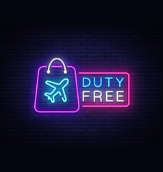 Duty free neon sign duty free design vector