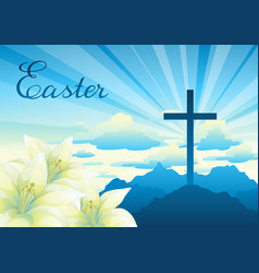 easter greeting card with cross and vector image