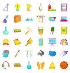 Education in country icons set cartoon style vector