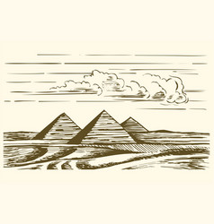 egyptian pyramids sketch vector image