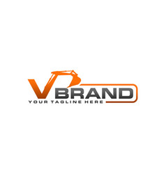 excavator logo template - letter v vector image