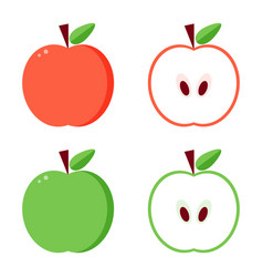 Flat design green and red apples vector