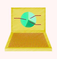 flat shading style icon laptop chart vector image