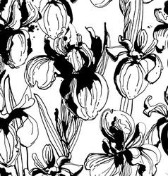 Floral flower iris seamless hand drawn pattern vector image