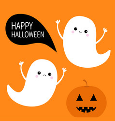 flying ghost spirit set pumpkin smiling face vector image