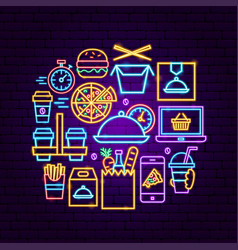 Food order delivery neon concept vector
