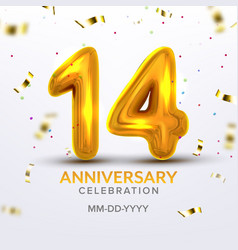 fourteenth anniversary celebration number vector image