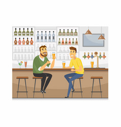 Friends at pub - cartoon people characters vector