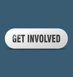 Get involved button sticker banner rounded glass vector