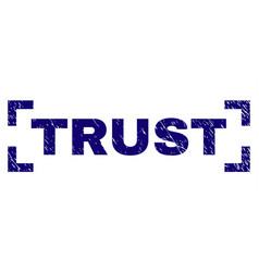 Grunge textured trust stamp seal between corners vector