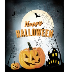 Halloween Party Background with Pumpkins vector image