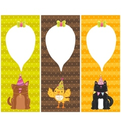 Happy Birthday cards with dog cat bird vector image