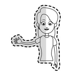 happy pretty woman waving hand icon imag vector image