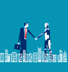 Human and robot agreement concept business vector