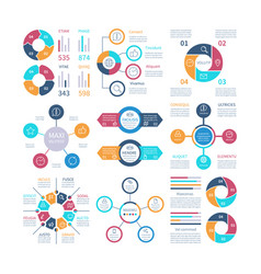 infographic design pie charts and step circle vector image