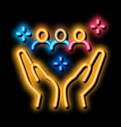 Interracial idyllic neon glow icon vector
