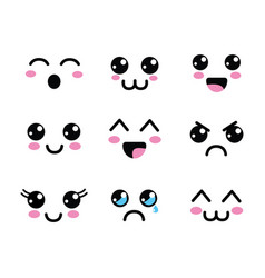 kawaii faces eyes icon vector image