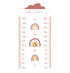 kids height chart meter wall with cute boho vector image