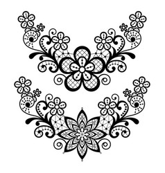 lace single pattern set - black floral lace vector image