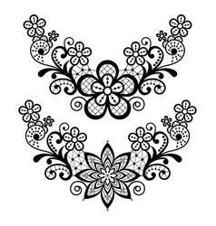 Lace single pattern set - black floral lace vector