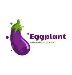 Logo eggplant simple mascot style vector
