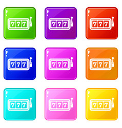 Lucky seven on slot machine set 9 vector