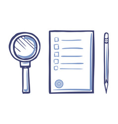 magnifying glass office paper icon sharp pencil vector image
