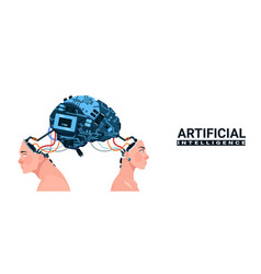 Male and female heads with modern cyborg brain vector
