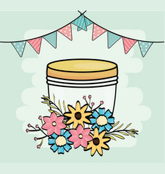 mason jar flowers pennants garland decoration vector image