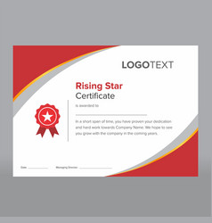 Modern red rising star certificate vector