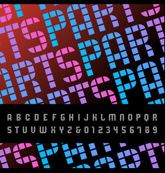 mosaic font alphabet with latin letters and vector image