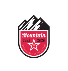 mountain adventure - concept badge design vector image