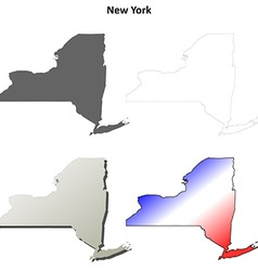 New york outline map set vector